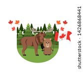 moose and beaver animal of... | Shutterstock .eps vector #1426868441