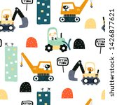 seamless pattern with dog... | Shutterstock .eps vector #1426877621