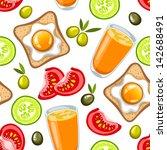 vector breakfast pattern | Shutterstock .eps vector #142688491