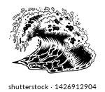 monochrome big ocean sea wave... | Shutterstock .eps vector #1426912904