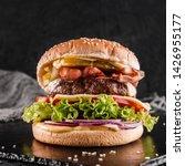 beef burger with lettuce ... | Shutterstock . vector #1426955177
