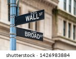 """Wall Street """"wall St"""" Sign And..."""