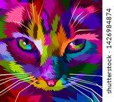 Illustration Colorful Cool Cat ...