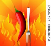 red chili pepper with fork and... | Shutterstock . vector #142704607