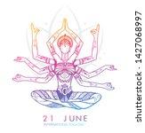 international yoga day web... | Shutterstock .eps vector #1427068997