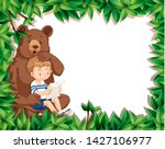 boy and bear on nature border... | Shutterstock .eps vector #1427106977
