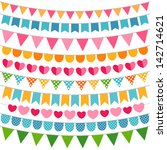 colorful vector garlands and... | Shutterstock .eps vector #142714621