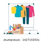 used clothes donation flat... | Shutterstock .eps vector #1427153531