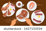 person eating meat dishes flat... | Shutterstock .eps vector #1427153534