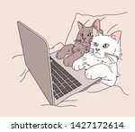 Stock vector the cat is lying on the bed and looking at the computer hand drawn style vector design 1427172614
