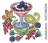 sweets  berries  fruits hand...   Shutterstock .eps vector #1427180234