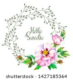spring frame with watercolor... | Shutterstock . vector #1427185364