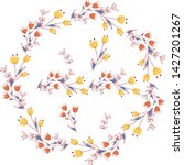 wreath and border of flowers | Shutterstock .eps vector #1427201267
