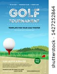 golf ball on red tee  green... | Shutterstock .eps vector #1427252864