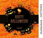 halloween card or background. | Shutterstock . vector #142725451