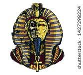 egyptian pharaoh in a destroyed ... | Shutterstock .eps vector #1427298224