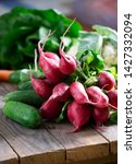 fresh and vibrant radish on...   Shutterstock . vector #1427332094