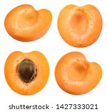 apricots isolate. apricot half  ... | Shutterstock . vector #1427333021