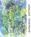 hand painted abstract flowers...   Shutterstock . vector #14273425