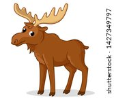 ute moose with big horns is... | Shutterstock .eps vector #1427349797