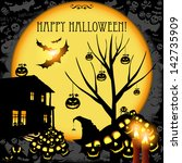 halloween card or background. | Shutterstock . vector #142735909