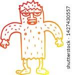 Stock vector warm gradient line drawing of a cartoon bigfoot creature 1427430557