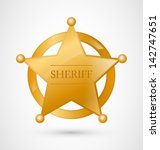 gold sheriff star badge with... | Shutterstock .eps vector #142747651