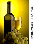 a glass and a bottle of white wine and grape - stock photo