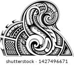 sleeve tribal tattoo in maori... | Shutterstock .eps vector #1427496671