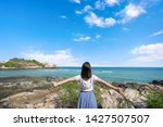 young girl woman female on...   Shutterstock . vector #1427507507