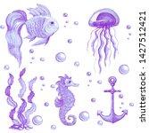 hand drawn watercolor set of...   Shutterstock . vector #1427512421