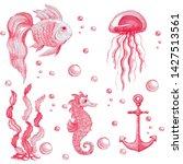 hand drawn watercolor set of...   Shutterstock . vector #1427513561