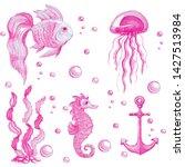 hand drawn watercolor set of...   Shutterstock . vector #1427513984