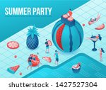pool party isometric 3d... | Shutterstock .eps vector #1427527304