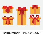 set of gift box with red bow ...   Shutterstock .eps vector #1427540537