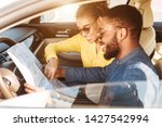 travel concept. afro couple...   Shutterstock . vector #1427542994