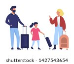 family standing in the airport...   Shutterstock .eps vector #1427543654