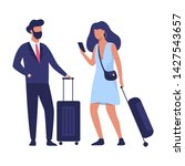couple standing in the airport...   Shutterstock .eps vector #1427543657