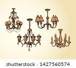golden rich lampshade hang on...   Shutterstock .eps vector #1427560574