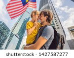 dad and son tourists in...   Shutterstock . vector #1427587277