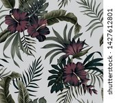 tropical floral foliage dark... | Shutterstock .eps vector #1427612801