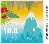 vector vintage poster with ocean   Shutterstock .eps vector #142761454