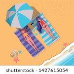 girls tanning with swimwear... | Shutterstock .eps vector #1427615054