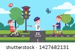 girl  boy riding bicycle and... | Shutterstock .eps vector #1427682131
