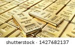 golden bars isolated on a white ... | Shutterstock . vector #1427682137