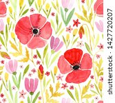 watercolor seamless floral... | Shutterstock . vector #1427720207
