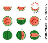 pink watermelon whole  half and ... | Shutterstock .eps vector #1427806877