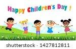 a vector illustration of happy... | Shutterstock .eps vector #1427812811