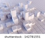 3d illustration of white boxes... | Shutterstock . vector #142781551