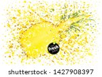 half pineapple with a splash of ... | Shutterstock .eps vector #1427908397